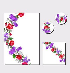 Floral templates for greeting cards festive vector