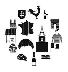 France black simple icons vector