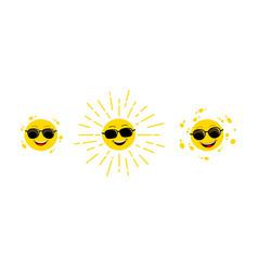 funny sun yellow cute sunshine childish sun joy vector image