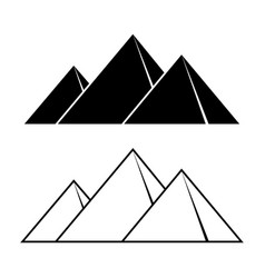giza pyramids outline silhouettes set vector image