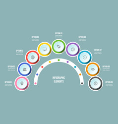 Half circle chart timeline infographic templates vector