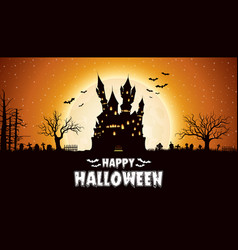 halloween night background with castle vector image