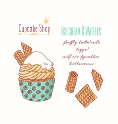 Hand drawn cupcake with waffles vector