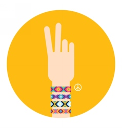 Hand with hippy friendship bracelets Victory sign vector