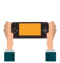 Hands holding mobile video game console icon vector
