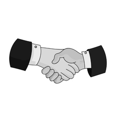 Handshake icon in monochrome style isolated on vector image