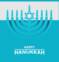 Hanukkah menorah on light blue background happy vector