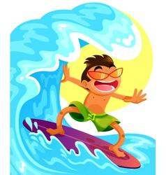happy surfer vector image