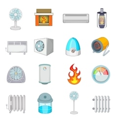 Heating cooling icons set cartoon style vector