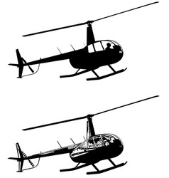 Helicopter silhouette and sketch vector