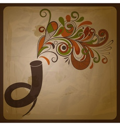 horn and floral music vector image