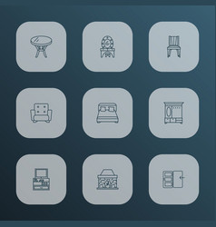 interior icons line style set with double bed vector image