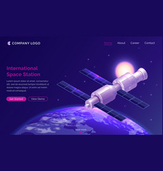 International space station isometric landing page vector