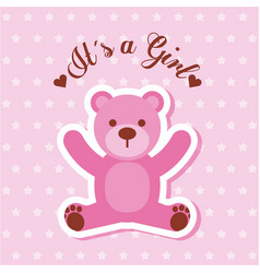 its a girl pink bear card invitation baby shower vector image