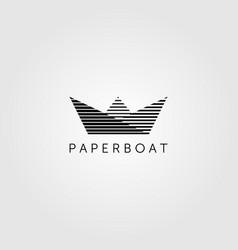 line art paper boat minimalist logo emblem design vector image
