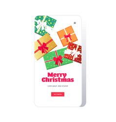 mobile shopping application merry christmas happy vector image