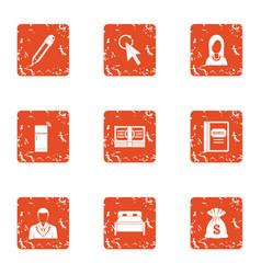 Monetary intervention icons set grunge style vector