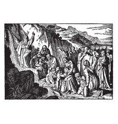 Moses strikes rock and water flows in the vector