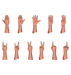 Numerical gestures male low poly hand vector