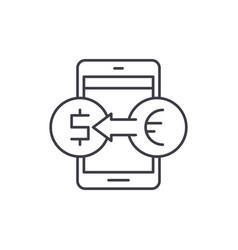 online currency exchange line icon concept online vector image