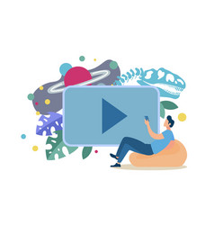 Online education with video lessons concept vector