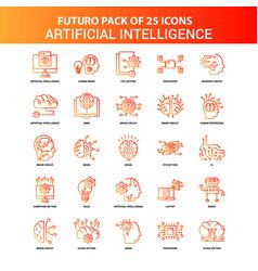 orange futuro 25 artificial intelligence icon set vector image