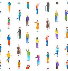 people characters seamless pattern background vector image