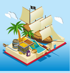 pirate elements isometric game composition vector image
