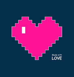 pixel heart icon in plastic pink love sign vector image