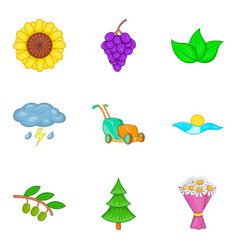 Pollination icons set cartoon style vector