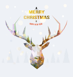 polygonal reindeer with snowy landscape vector image