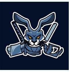 Rabbit ninja sport esport mascot logo vector