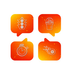 race traffic lights and speed icons vector image