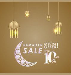 Ramadan sale up to 10 off special offer template vector