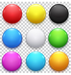 realistic color blank circle button badge set vector image