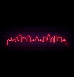 red neon skyline providence city bright vector image
