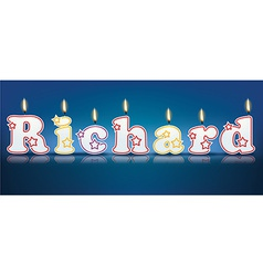 RICHARD written with burning candles vector image