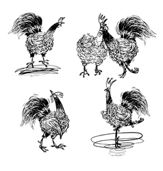 Roosters and a Hen black and white vector image