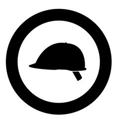 safety helmet icon black color in circle vector image