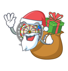 santa with gift cartoon dartcoard next to wooden vector image