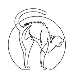 Scared cat continuous line cartoon vector