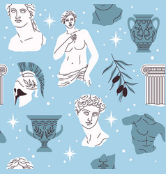 seamless pattern antique statues ancient greek vector image