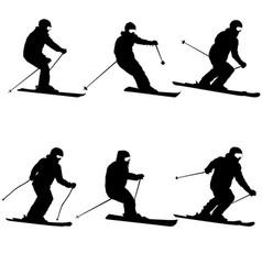 Set mountain skier speeding down slope sport vector