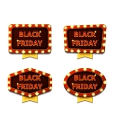Set of banners with glowing lamps for Black friday vector image