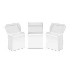 set opened tea boxes mockups vector image