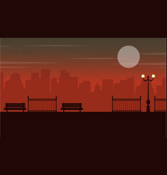 Silhouette of chair on street with city background vector