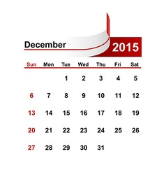 simple calendar 2015 year december month vector image