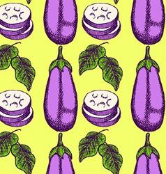 Sketch eggplant in vintage style vector image