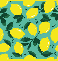 summer pattern with lemons flowers and leaves vector image