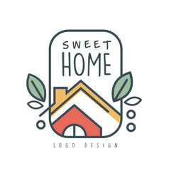 Sweet home logo design eco friendly house concept vector